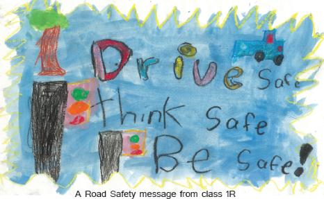Winning poster and slogan - Drive Safe, Think Safe, Be Safe - for Road Safety Campaign