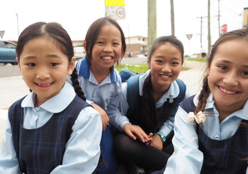 Four girls ready to participate in filming of the road safety video